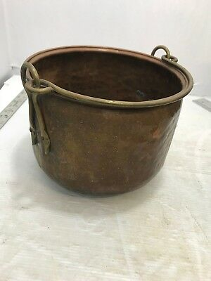 Huge Antique Hammered & Dovetailed Copper Hearth Cauldron Cooking Pot