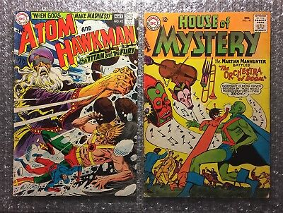 Atom #42 (HAWKMAN) & House of Mystery #147 (MARTIAN MANHUNTER) DC Silver Age LOT
