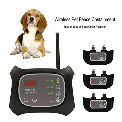 Wireless Dog Fence Pet Containment System Rechargeable Waterproof 1/2/3 Dogs HT