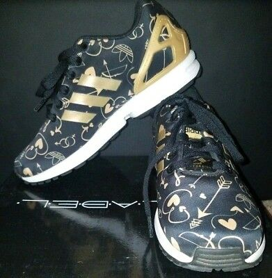 f96b5a8212b07 ADIDAS ZX FLUX CORE BLACK GOLD BRONZE LIMITED EDITION Size 7 7.5 TORISION  EUC