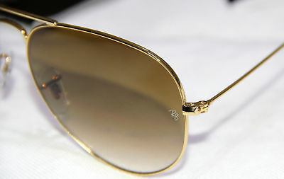 ..GENUINE Ray-Ban* Sunglasses Aviator RB3025 Gold Brown Gradient 001/51 58mm