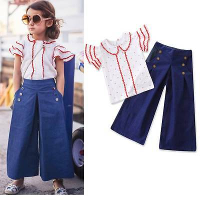 UK Toddler Kids Baby Girls T-shirt Tops+Long Pants Clothes Outfit Holiday Casual