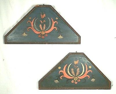 PAIR ANTIQUE LATE 19th CENTURY FOLK ART HAND PAINTED WALL HANGING DECORATIONS