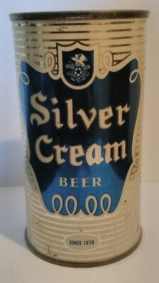 Silver Cream Flat Top Beer Can
