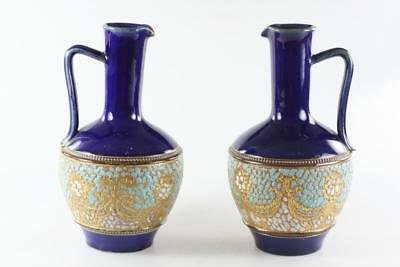 Antique Royal Doulton Burslem Baluster Lambeth Vase Pair