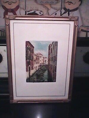 Lovely vintage Venice Canal oil painting on cloth framed signed Marco Pablo