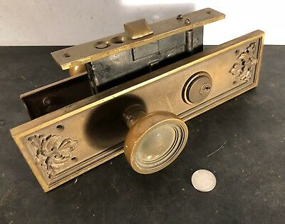 Antique vtg Corbin beefy solid brass entry door set doorknob door knob