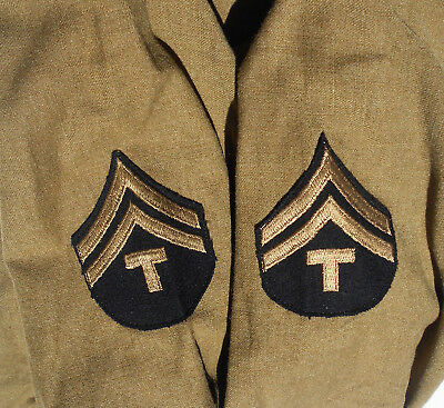 EXC+ ORIG WWII US ARMY T5 OD WOOL COMBAT SHIRT 15 1/2 x 32 DATED JAN 12, 1945