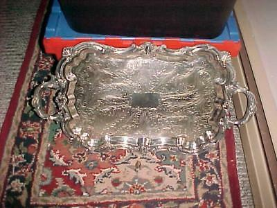 Silver plate large serving tray