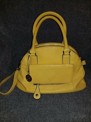 Authentic Cynthia Rowley Leather Handbag Yellow Pre Owned