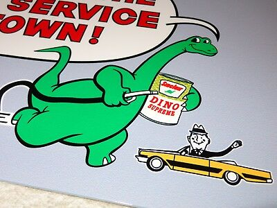 "Vintage Sinclair Gasoline W/ Dino Supreme Oil Can & Car 12"" Baked Metal Gas Sign"