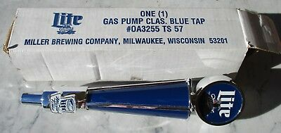 Miller Lite Beer Gas Pump Classic Blue Tap Handle New Old Stock w/Original Box