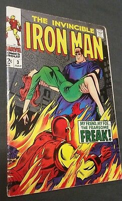 IRON MAN # 3 1968 MARVEL COMIC STAN LEE and ARCHIE GOODWIN FEARSOME FREAK