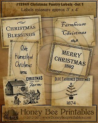 Primitive Pantry Labels 12949 - Christmas Farmhouse Blessings Old Fashioned