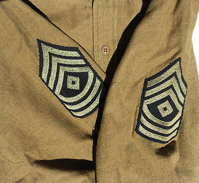 EXC ORIG 1937-41 WWII US ARMY 1ST SGT, 1ST GRADE WOOL COMBAT SHIRT 14 1/2 x 33