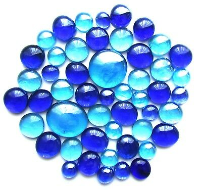 50 x Shades of Blue Art Glass Mosaic Craft Artist Gem Stones - Assorted Sizes