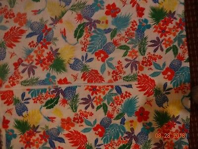 Vintage 1940's 1950's white tropical Cranston print works 58x110 cotton material