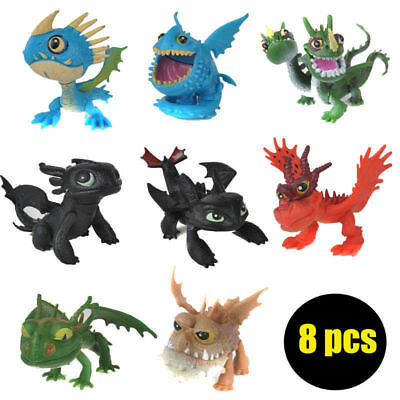 8pcs How to Train Your Dragon Action Figures Toothless Night Fury Nadder Toys!