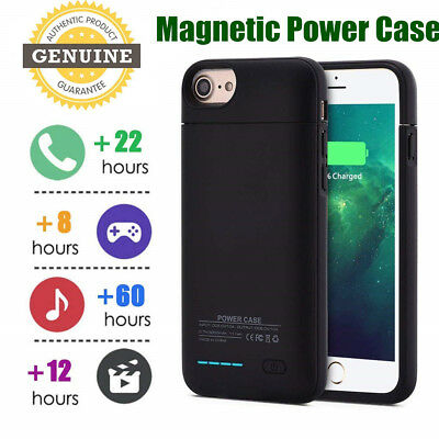 For iPhone 7 8 6 Plus Magnetic Battery Case Cover Back Power Bank Pack Charger