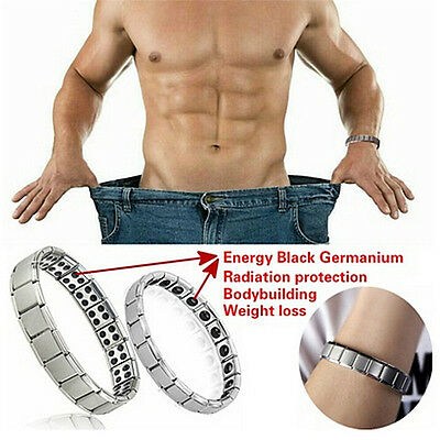 Mens Womens Titanium Steel Magnetic Therapy Energy Health Energy Bracelet Gifts