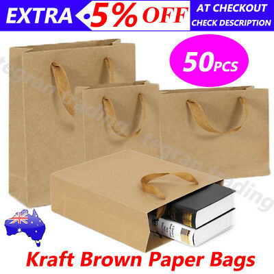 Kraft Paper Bags 50pcs Bulk Shopping Carry Gift Bag with Handles Brown 6 Size AU
