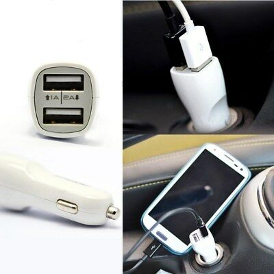 Double USB Chargeur Adaptateur Voiture Prise Allume-Cigare pour iPhone Samsung