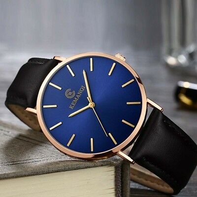 Men's PU Leather Military Casual Analog Quartz Wrist Watch Business Watches