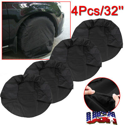 4Pcs Canvas RV Wheel Tire Covers 32'' Tire Protector Cover Set Fit Trailer Car
