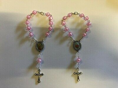 Bulk Kids Crystal Glass Religious ROSARY Beads Bracelet With Crucifix Gift Box