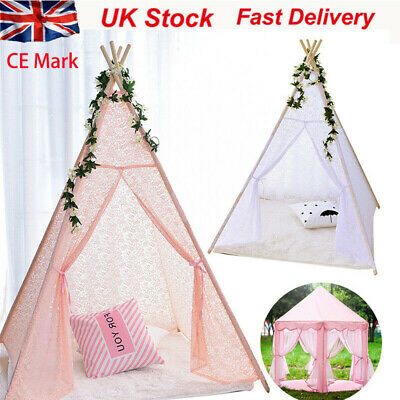 New Large Kids Teepee play Tent Wooden Playhouse  Pink White lace  Out / Indoor