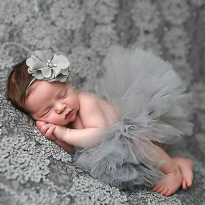 Newborn Toddler Baby Girls Tutu Mesh Skirt & Headband Photo Prop Costume ONE