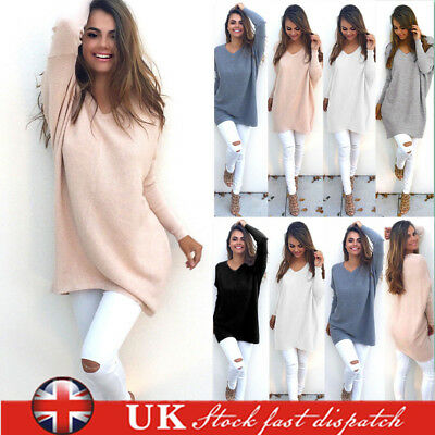 UK Womens Oversized Jumper Ladies Long Sleeve Knitted Long Sweater Tops Dresses