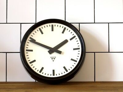 12inch running Pragotron wall clock - Factory School Railway - original movement