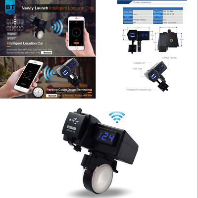 Motorcycle Dual USB LED 5V 3.1A  Bluetooth Parking Locator Phone Charger