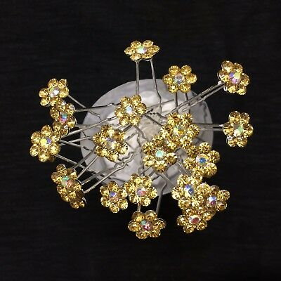 10pcs flower crystal gold bridal hair pins hair accessories wedding party G