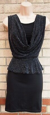 Quiz Black Silver Glitter Sparkly Cowl Neck Backless Peplum Party Tube Dress 12