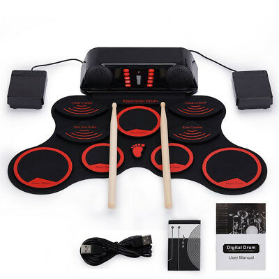 Portable 9 Pad Electronic Roll up Drum Kit Travel Silicone Drum w Drumstick AU