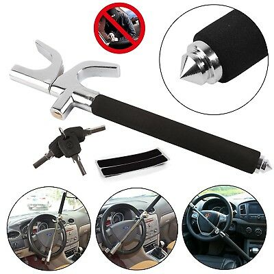 Car Van Steering Wheel Lock Extendable Double Hook Universal with 3 keys