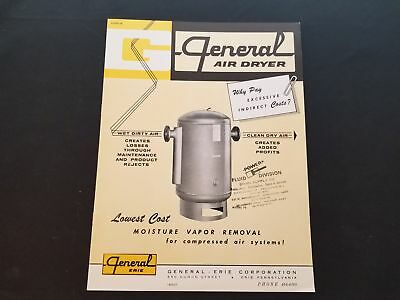 1960s General Air Dryer Moisture Vapor Removal System Bulletin From Erie PA