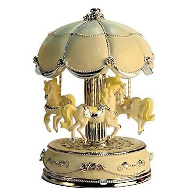 LIWUYOU Merry-Go-Round Music Box Carousel Horse Luxury Large Color Gradient LED