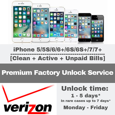 Premium Unlock Verizon Service Iphone 5 5S 6 6+ 6S 6S+ 7 7+ Financed Contract