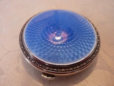 Stunning 1930's Blue Enamel and Silver Compact