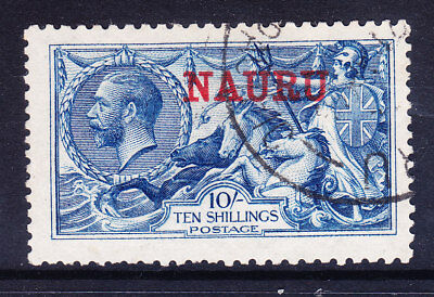 NAURU GV SG23d 10/- deep bright blue of GB - f/u couple bluntish perfs cat £700