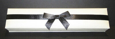 Ribbon-Wrapped Cream & Black Faux Linen Bracelet Gift Box - Package of 10 Boxes