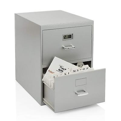 Mini File Cabinet 2 Drawer Storage Holder Organizer Business Office Home Silver