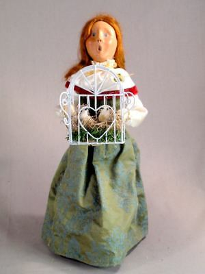 """Byers' Choice 13 1/4"""" Woman With Two Turtle Doves SIgned Caroler 2007 ExcCond"""