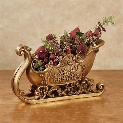 ANTIQUED DECORATIVE SLEIGH W//SCROLL ACCENTS BY VALERIE,ANTIQUE GOLD H206456*NIOB