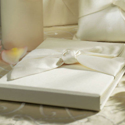 Ivory Satin Tied Bow Traditional Wedding Guestbook Beverly Clark