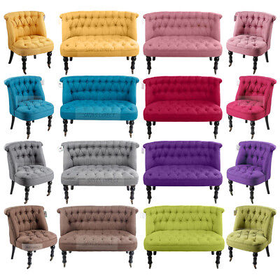 1/2 Seater Sofa Tub Chairs Couch Tufted Back Buttons Home Office New Colours