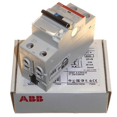 ABB 20A 30mA Type C RCBO 2 Module 1P+N Circut Breaker RCD Trip Combination New